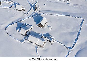 リモート, 雪, village., カバーされた, 空中写真