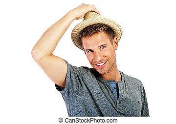 リラックスした, 人, 帽子, 若い, 偶然