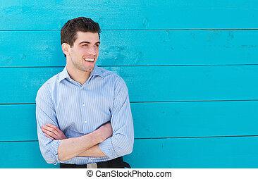 リラックスした, 若い, 屋外で, 肖像画, 微笑の人