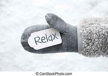 リラックスしなさい, テキスト, 手袋, 雪, ラベル, 白, 羊毛