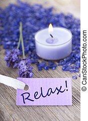 リラックスしなさい, 上に, 紫色, ラベル