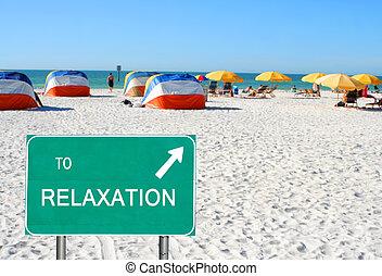 リラックス, 浜, 指すこと, 印