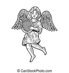 リラ, ベクトル, 天使, スケッチ, イラスト