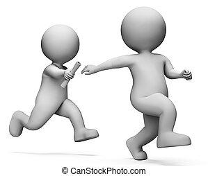 リレー, レンダリング, トラック, ∥示す∥, フィールド, 運動競技, 運動選手, 3d