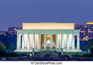 リンカーンの 記念物, 中に, washington d.c., アメリカ