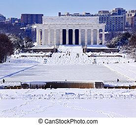 リンカーンの 記念物, 後で, 雪, washington d.c.