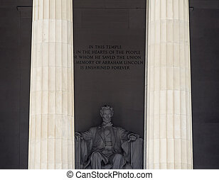 リンカーン, ワシントン, 記念, dc, 像, 高い, アブラハム, コラム