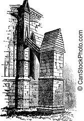リンカーン, 古い, 扶壁, england., 章, 大聖堂, アーチ, engraving.