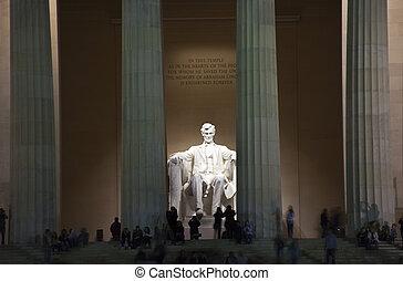リンカーン, 夕方, ワシントン, 記念, dc, 像