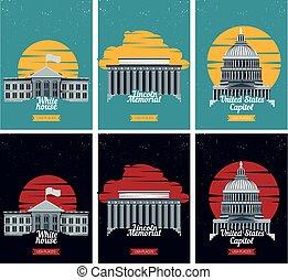 リンカーン, 観光客, アメリカ, 目的地, 国会議事堂, イラスト, 記念, 有名, アメリカ人, ベクトル, 家,...