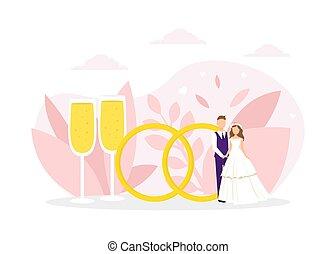 リング, ガラス, イラスト, 平ら, 巨大, ただ, ベクトル, 2, 地位, 結婚式の カップル, 次に, シャンペン, 結婚されている
