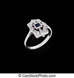 リング, ダイヤモンド, 黒い背景