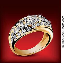 リング, ベクトル, いくつか, diamonds., 金