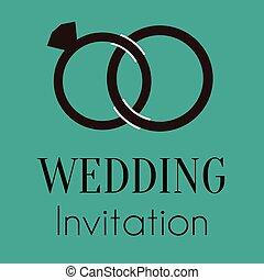 リング, ベクトル, 結婚式, イメージ, 招待
