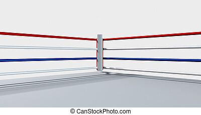 リング, ボクシング, 隔離された, 白