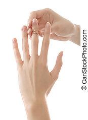 リング, 女, 指, 手