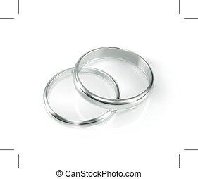 リング, 対, 結婚式, 銀
