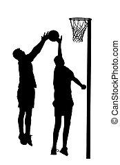リーグ, シルエット, ゴール, プレーヤー, 試み, 人, korfball, 投球