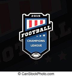 リーグ, 紋章, illustration., フットボール, 暗い, バックグラウンド。, ベクトル, ロゴ, チャンピオン