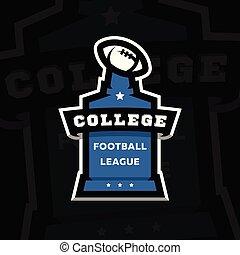 リーグ, illustration., フットボール, 暗い, バックグラウンド。, アメリカ人, ベクトル, 大学, ロゴ