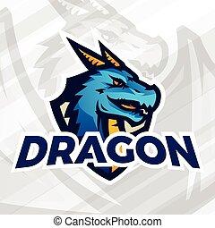 リーグ, mascot., スポーツ, 保護, concept., フットボール, 学校, ドラゴン, ∥あるいは∥, ベクトル, 大学, チーム, 野球, パッチ, バッジ