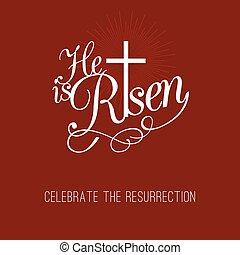 リーセン, 印刷である, 交差点, デザイン, 復活, イースター, 祝いなさい, 彼