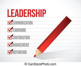 リーダーシップ, リスト, 点検, イラスト, 印