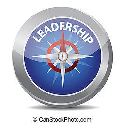 リーダーシップ, 単語, 赤, 示された, コンパス