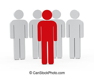 リーダーシップ, 3d, 赤, 人