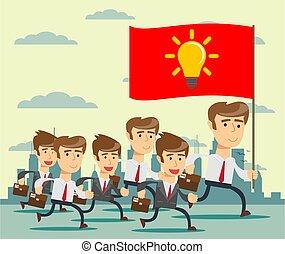 リーダー, 動くこと, 方法, 同僚, 旗, 大きい, 彼の, 先導, ビジネスマン, 人々。, 保有物, ビジネス, 人