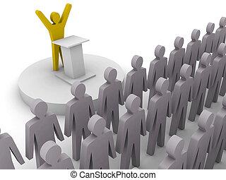 リーダー, 話すこと, へ, 群集。