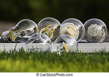 リードした, ハロゲン, そして, タングステン, 電球, 上に, 太陽 パネル, いくつか, 芝生に