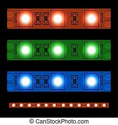 リードした, ライト, seamless, 白熱, ストリップ, eps10