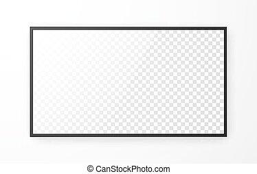 リードした, 白, mockup, ベクトル, スクリーン, モニター, バックグラウンド。, 3d, display., monitor., テレビ, tv, イラスト, 現実的, コンピュータ