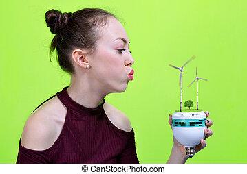 リードした, eco, タービン, 手, バックグラウンド。, 緑, 保有物, 電球, 女の子, 風