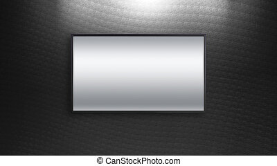 リードした, tv, ディスプレイ, 上に, 黒, パターン, 壁