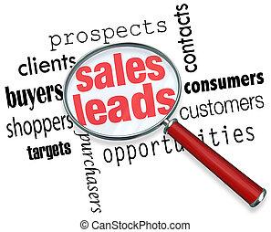 リードする, 見込み, 販売, 顧客, 探索, 販売, 機会, 見る ガラス, 言葉, 下に, 見つけること, 新しい, 拡大する, 例証しなさい