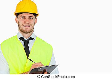 リード, 微笑, クリップボード, 労働者, 若い