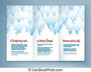 リーフレット, デザイン, クリスマス, テンプレート