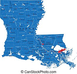 ルイジアナ州, 政治的である, 地図