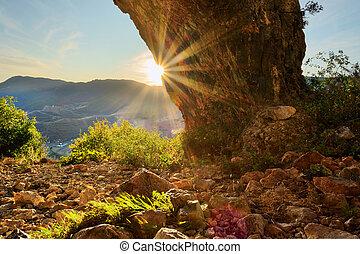 ルーマニア, 美しい, 生徒, 日没, 洞穴