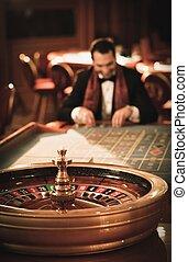 ルーレット, カジノ, スーツ, 遊び, スカーフ, 人