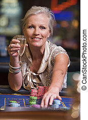 ルーレット, ギャンブル, 女, テーブル