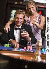 ルーレット, ギャンブル, 恋人, テーブル