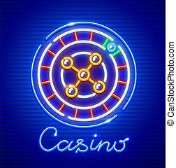 ルーレット, ネオン, casino., 興奮しやすい, ゲーム, icon.