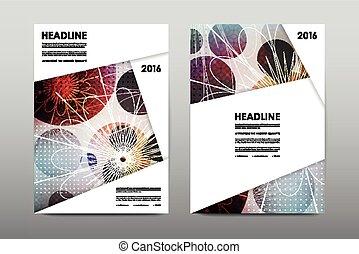 レイアウト, テンプレート, 小冊子, 抽象的, カバー, 雑誌, フライヤ, デザイン, 背景, パンフレット, ...