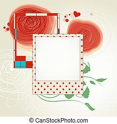 レイアウト, 写真, スクラップ, フレーム, 花, 赤