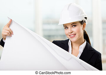 レイアウト, 懸命に, 女性手, 帽子, エンジニア