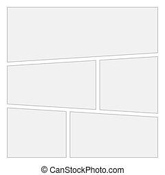 レイアウト, 漫画, バックグラウンド。, ベクトル, 5, テンプレート, 空白のページ