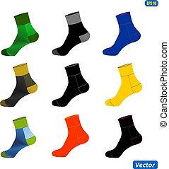 レイアウト, 現実的, 単純である, socks., イラスト, example., ベクトル, テンプレート